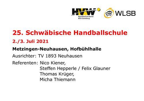 25. Schwäbische Handballschule 2021 ausgeschrieben
