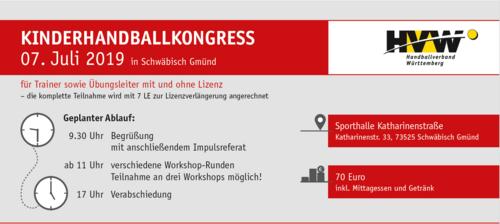 Kinderhandballkongress am 07. Juli 2019 in Schwäbisch Gmünd