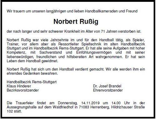 Trauer um Norbert Rußig